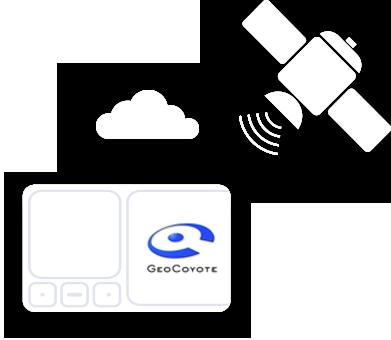 Illustration d'un satellite et d'un boîtier véhicule GeoCoyote