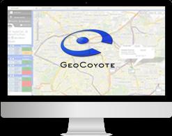 Écran d'un ordinateur avec le logiciel de gestion de flotte GeoCoyote