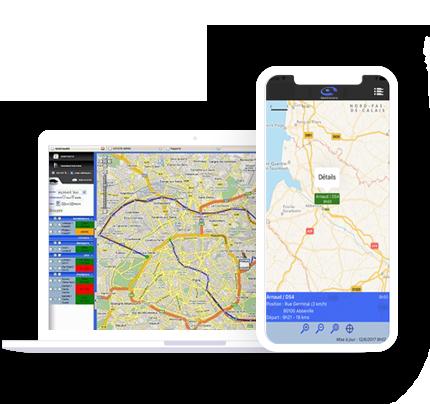 Illustration d'un smartphone et d'un ordinateur portable avec le logiciel de suivi de flotte GeoCoyote
